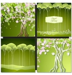 Set of Spring green backgrounds with trees leaves vector image vector image