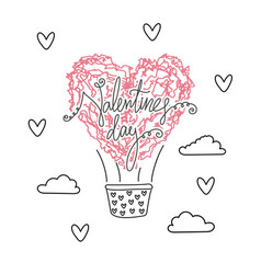 air ballon in shape of heart valentines day vector image vector image
