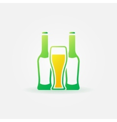 Beer green bottles and glass vector image vector image