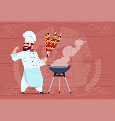 chef cook hold kebab smiling cartoon restaurant vector image