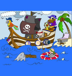 children on the theme of pirates vector image