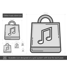 Online music store line icon vector image vector image