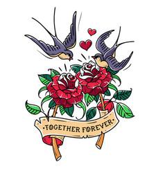 tattoo swallows fly over two roses love forever vector image vector image