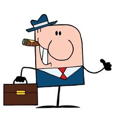 Cigar Smoking Thumbs Up Caucasian Businessman vector image