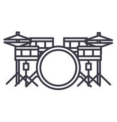 drums set line icon sign on vector image vector image