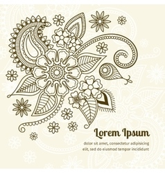 Floral elements in mehndi indian style vector image vector image