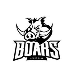 furious boar sport club mono logo concept vector image vector image