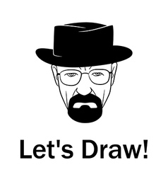 Lets draw man in a hat with beard vector image vector image