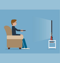 man watches tv on sofa vector image vector image