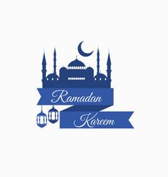 ramadan kareem ribbon with a mosque vector image