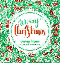 Red and green Merry Christmas circle frame vector image