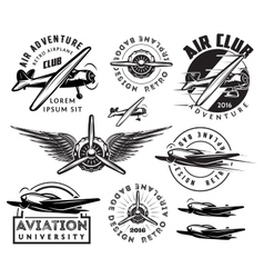 retro pattern set of planes badges design vector image vector image
