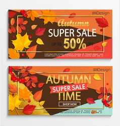 set of modern banners for autumn super sale vector image vector image