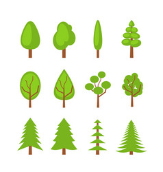 Set of trees icons flat vector