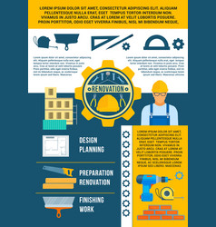 work tools poster for repair or renovation vector image vector image