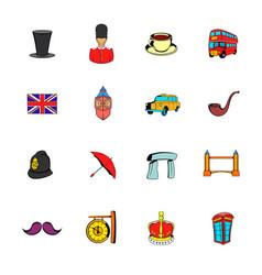 england icons set cartoon vector image