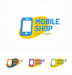 mobile shop logo set with silhouette phone vector image vector image