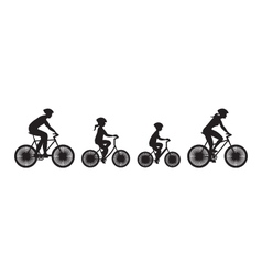 Silhouette of family on bicycles vector image vector image