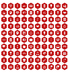 100 lamp icons hexagon red vector