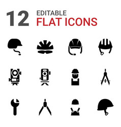 12 engineer icons vector