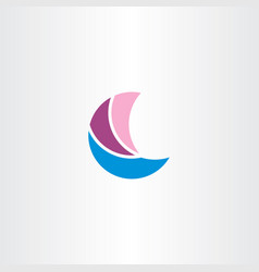 abstract boat sailing logo symbol vector image