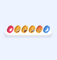 abstract isometric set emoticons emoji flat vector image