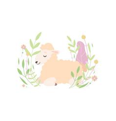 adorable little lamb lying and sleeping on vector image