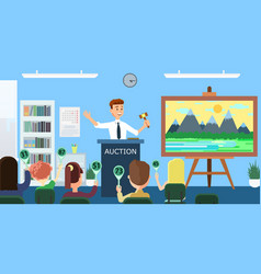 auction and bidding flat vector image