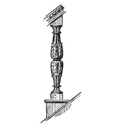 baluster coping vintage engraving vector image