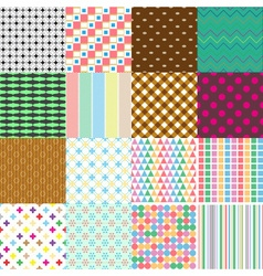 Big set abstract retro seamless simple patterns vector