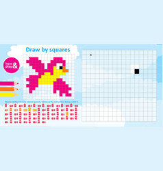 Bird color numbers an educational game vector