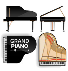 Black grand piano set icon with shadow vector