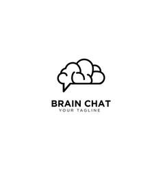 Brain chat logo design template vector