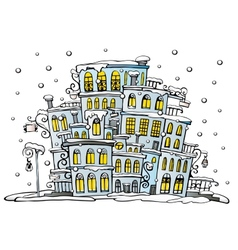 Cartoon city coated by snow vector