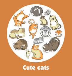 Cartoon cute cats and funny kittens poster vector