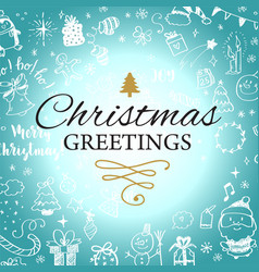 christmas post card with doodles big set of vector image
