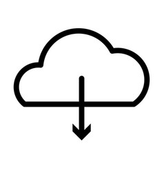 Cloud storage and dowload arrow icon line style vector