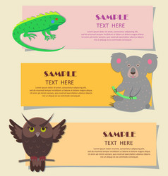 concept of three horizontal beasts on kids cards vector image