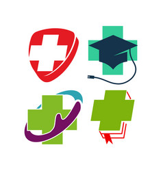 cross health care medical logo icon symbol emblem vector image