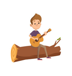 cute cartoon teenage boy sitting on a log and vector image