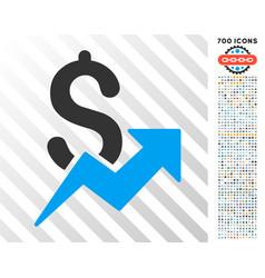 dollar growth flat icon with bonus vector image