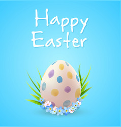 easter egg and blue spring flowers vector image