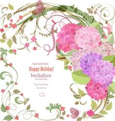 Elegant invitation card with beautiful flowers for vector