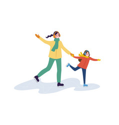 family winter walking mum and daughter vector image