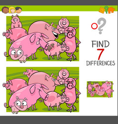 Find differences with pigs farm animal characters vector
