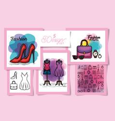 Five designs female fashion cloth vector