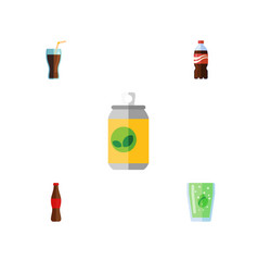 flat icon drink set of beverage bottle cola and vector image
