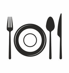 fork knife spoon and plate icon vector image