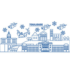 France toulouse winter city skyline merry vector