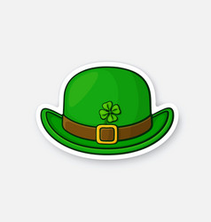 Front view green bowler hat with buckle and clover vector